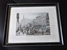 ANTIQUE TINTED ENGRAVING PRINT SOMERSET HOUSE & ST MARY LE STRAND CHAVANNE READ